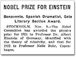 New York Times 10 nov 1922 - Nobel Prize for Einstein