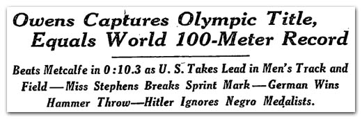 Owens Captures Olympic Title -- Hitler Ignores Negro Medalists