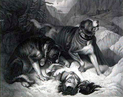 Sir Henry Edwin Landseer, Alpine Mastiffs Reanimating a Distressed Traveller (1820)